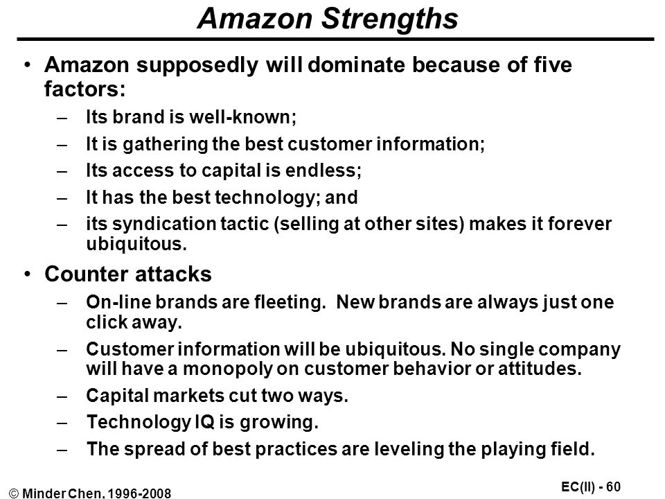 EC(II) - 60 © Minder Chen, Amazon Strengths Amazon supposedly will dominate because of five factors: –Its brand is well-known; –It is gathering the best customer information; –Its access to capital is endless; –It has the best technology; and –its syndication tactic (selling at other sites) makes it forever ubiquitous.