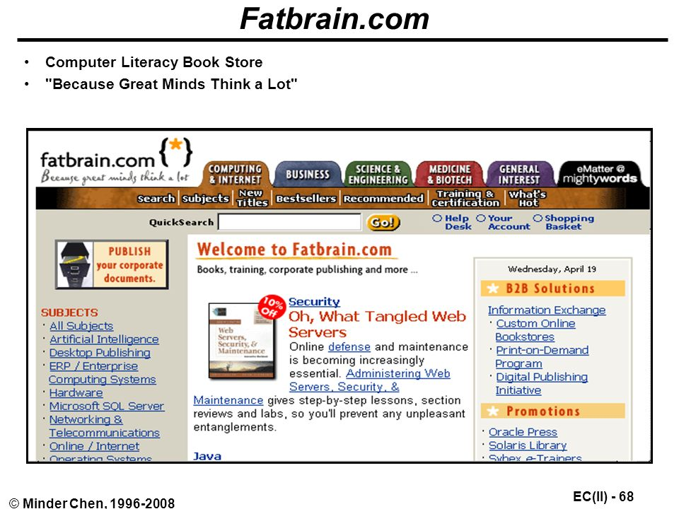 EC(II) - 68 © Minder Chen, Fatbrain.com Computer Literacy Book Store Because Great Minds Think a Lot