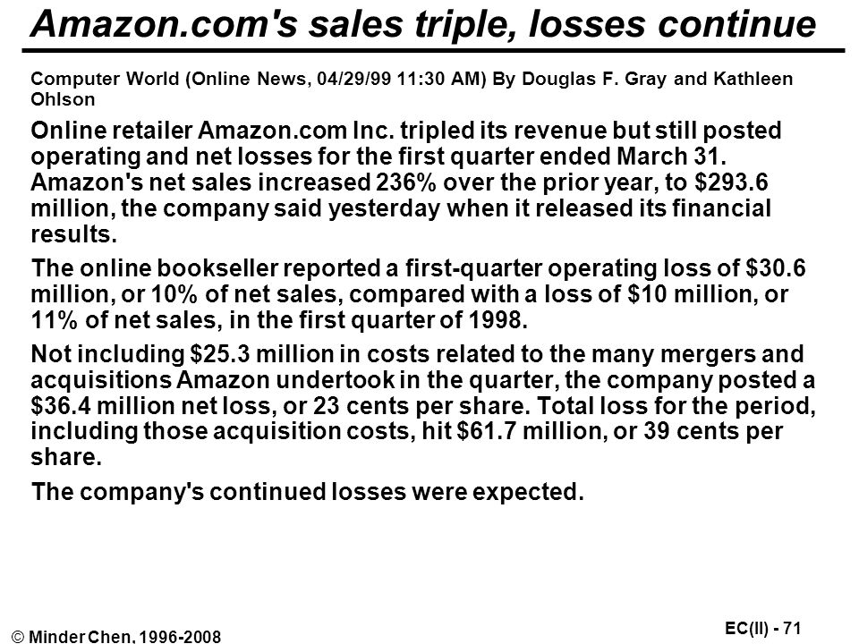 EC(II) - 71 © Minder Chen, Amazon.com s sales triple, losses continue Computer World (Online News, 04/29/99 11:30 AM) By Douglas F.