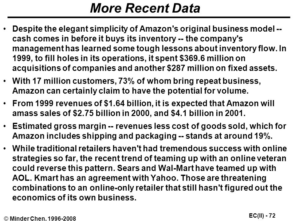 EC(II) - 72 © Minder Chen, More Recent Data Despite the elegant simplicity of Amazon s original business model -- cash comes in before it buys its inventory -- the company s management has learned some tough lessons about inventory flow.