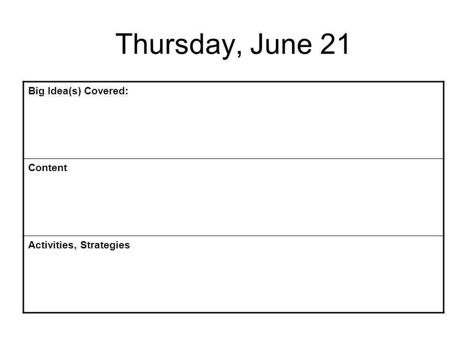 Thursday, June 21 Big Idea(s) Covered: Content Activities, Strategies
