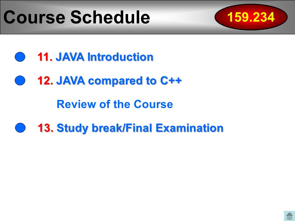 Course Schedule JAVA Introduction 12.