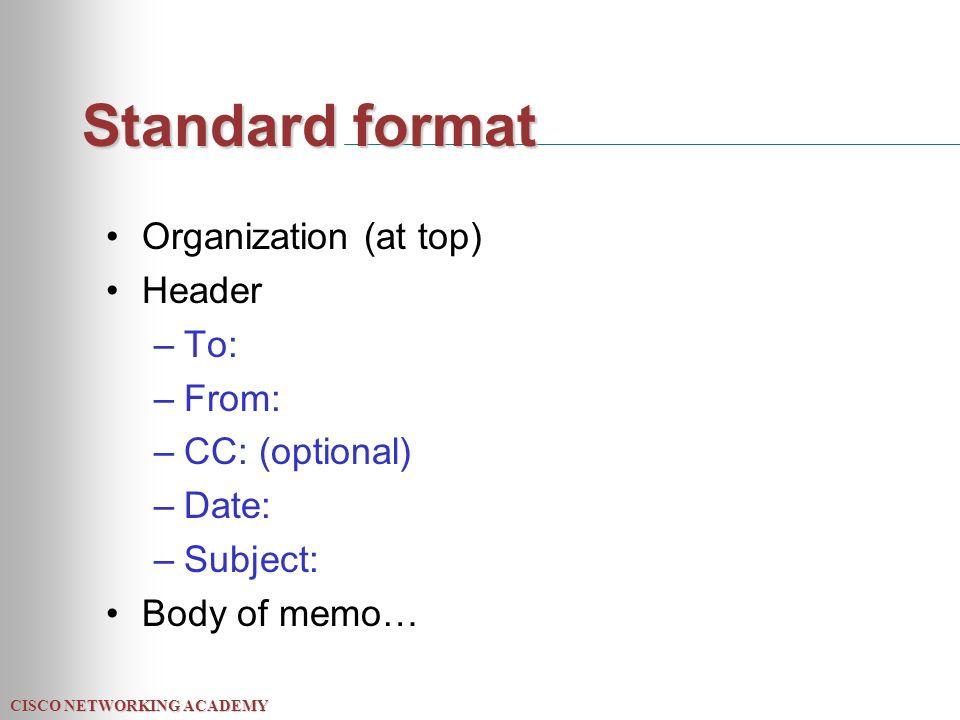 memo standard format