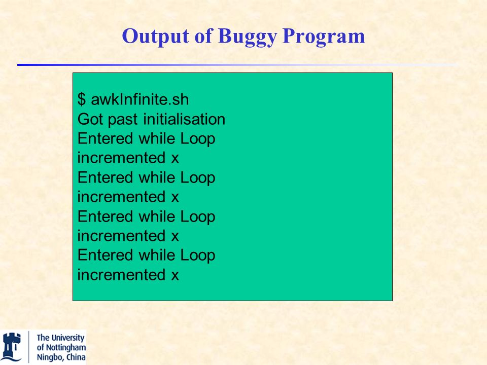 Output of Buggy Program $ awkInfinite.sh Got past initialisation Entered while Loop incremented x Entered while Loop incremented x Entered while Loop incremented x Entered while Loop incremented x