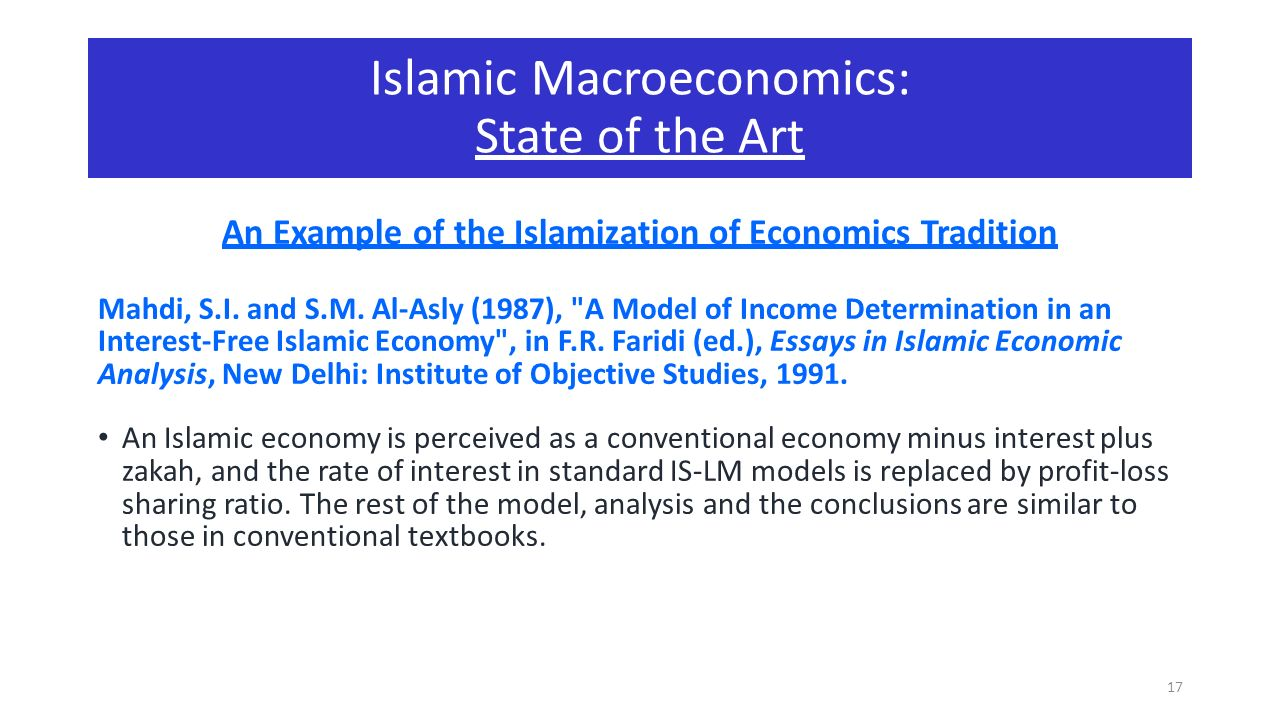 macroeconomics in islamic economy a theoretical perspective prof 17 an