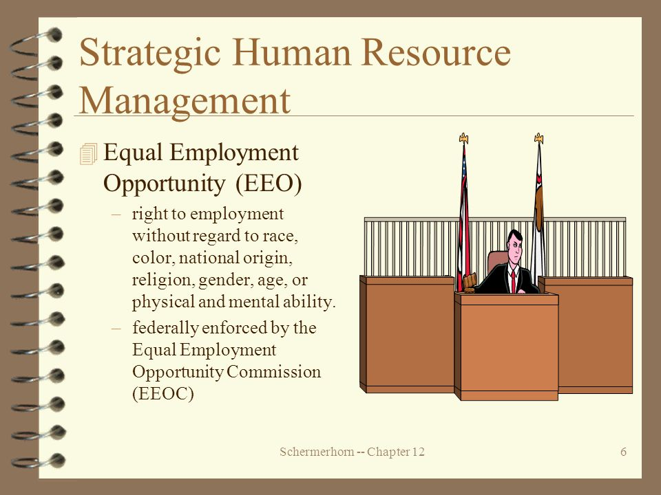 Schermerhorn -- Chapter 126 Strategic Human Resource Management 4 Equal Employment Opportunity (EEO) –right to employment without regard to race, color, national origin, religion, gender, age, or physical and mental ability.