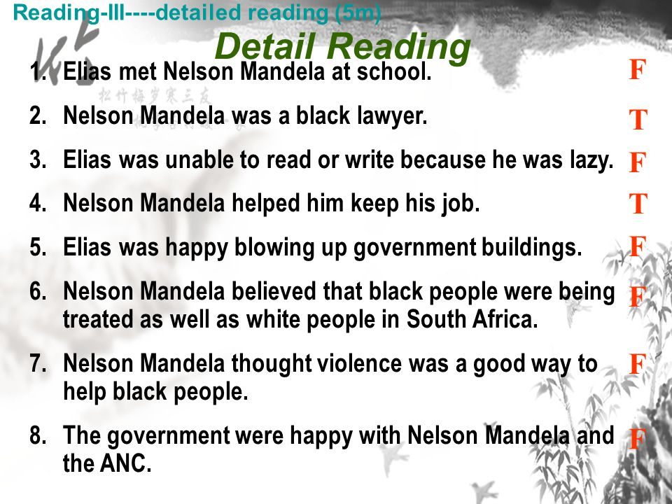 1.Elias met Nelson Mandela at school. 2.Nelson Mandela was a black lawyer.