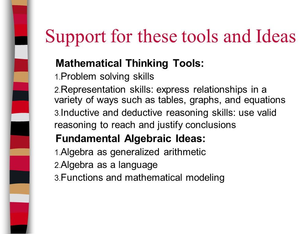 Support for these tools and Ideas Mathematical Thinking Tools: 1.