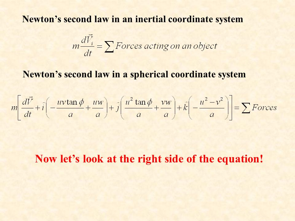 Newton's second law in an inertial coordinate system Newton's second law in a spherical coordinate system Now let's look at the right side of the equation!