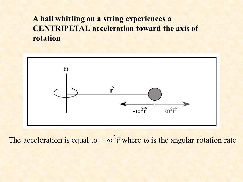 A ball whirling on a string experiences a CENTRIPETAL acceleration toward the axis of rotation The acceleration is equal to where  is the angular rotation rate