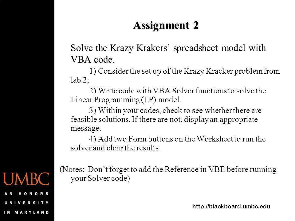 lab solver in vba acirc review solver add in in excel acirc solver blackboard umbc edu assignment 2 solve the krazy krakers