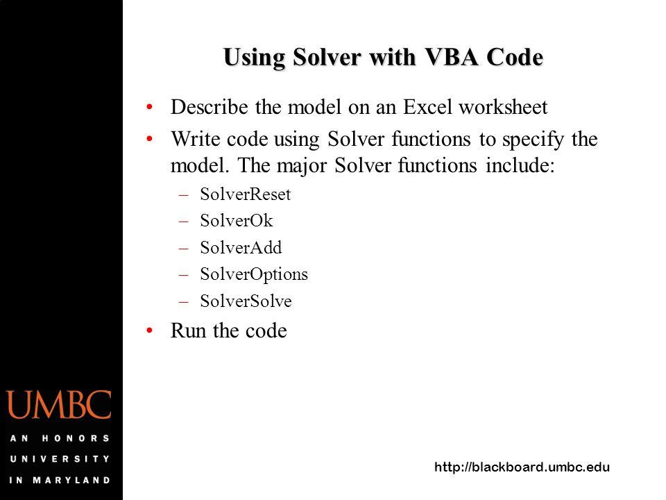 """Presentation """"Http://blackboard.umbc.edu Lab 8 Solver In VBA ..."""