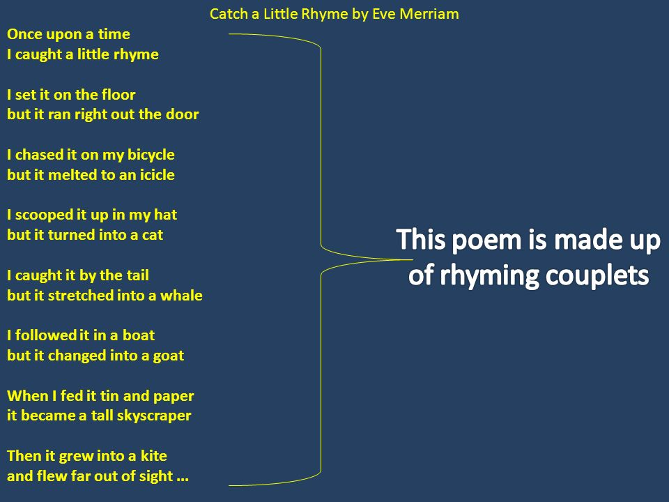 3 Catch ...  sc 1 st  SlidePlayer & More Rhymes Triple Rhyme Three syllables in the word rhyme. Examples ...