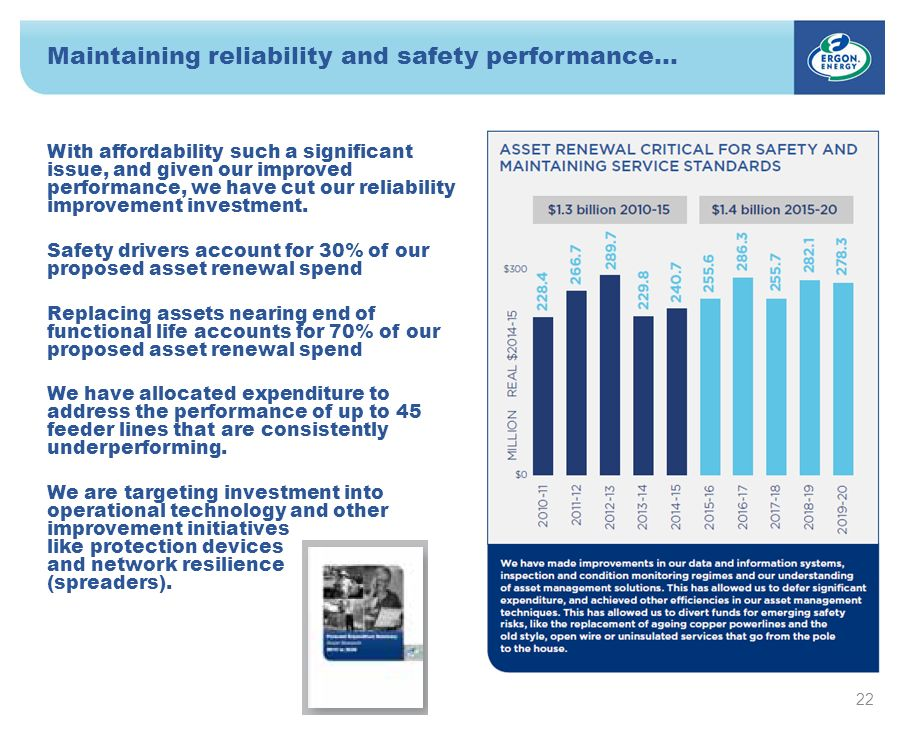 Maintaining reliability and safety performance… 22 With affordability such a significant issue, and given our improved performance, we have cut our reliability improvement investment.