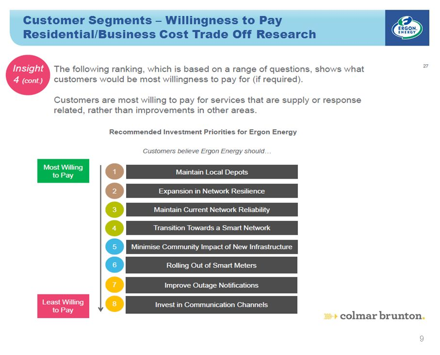 Customer Segments – Willingness to Pay Residential/Business Cost Trade Off Research 9