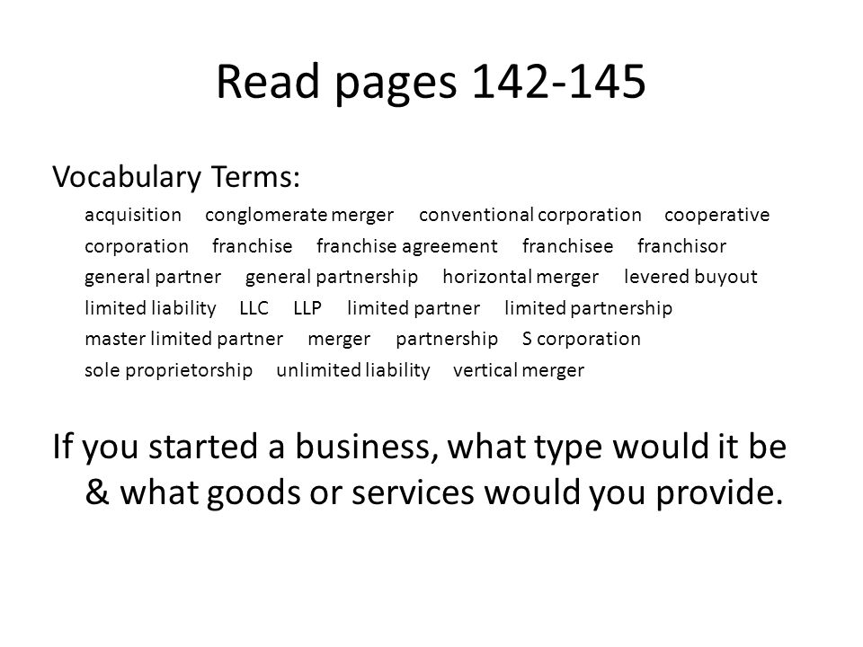 Chapter  Choosing A Form Of Business Ownership Types Of Business