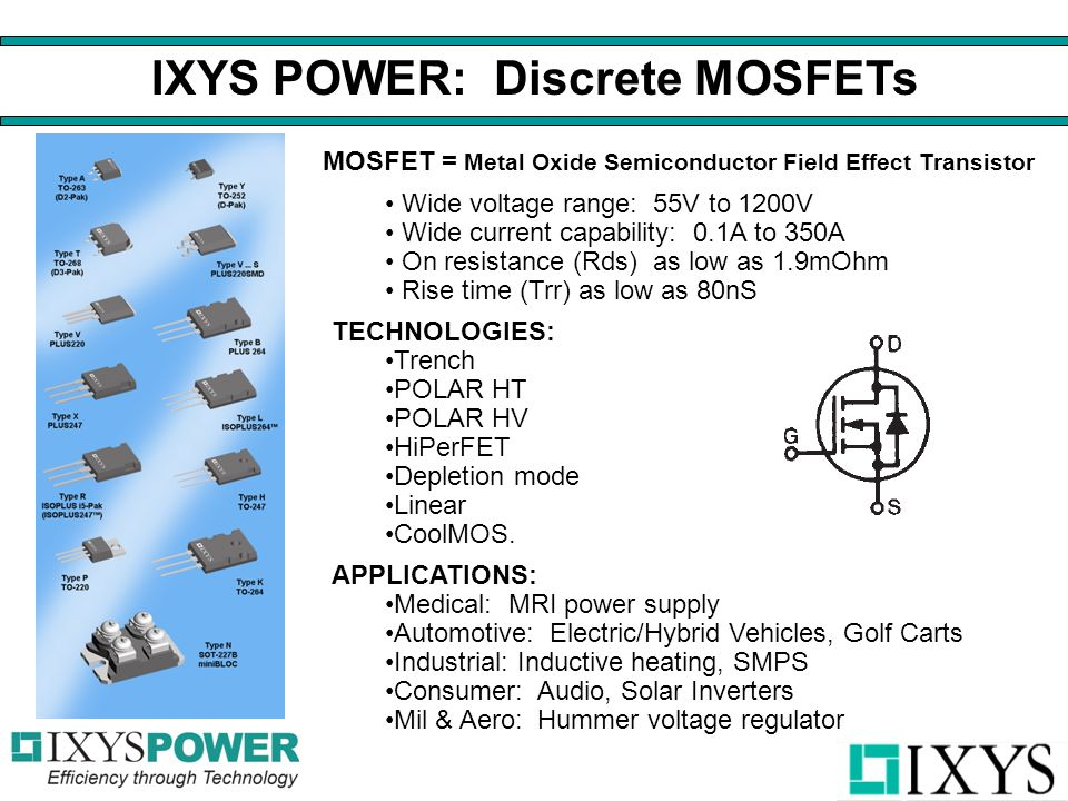 MOSFET = Metal Oxide Semiconductor Field Effect Transistor Wide voltage range: 55V to 1200V Wide current capability: 0.1A to 350A On resistance (Rds) as low as 1.9mOhm Rise time (Trr) as low as 80nS TECHNOLOGIES: Trench POLAR HT POLAR HV HiPerFET Depletion mode Linear CoolMOS.