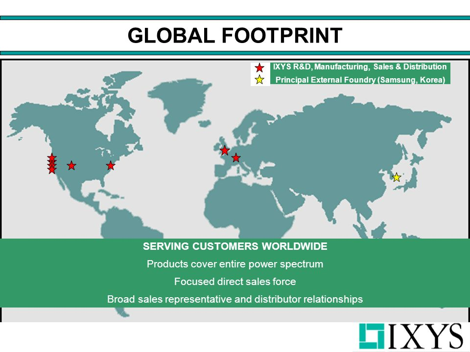 GLOBAL FOOTPRINT SERVING CUSTOMERS WORLDWIDE Products cover entire power spectrum Focused direct sales force Broad sales representative and distributor relationships IXYS R&D, Manufacturing, Sales & Distribution Principal External Foundry (Samsung, Korea)