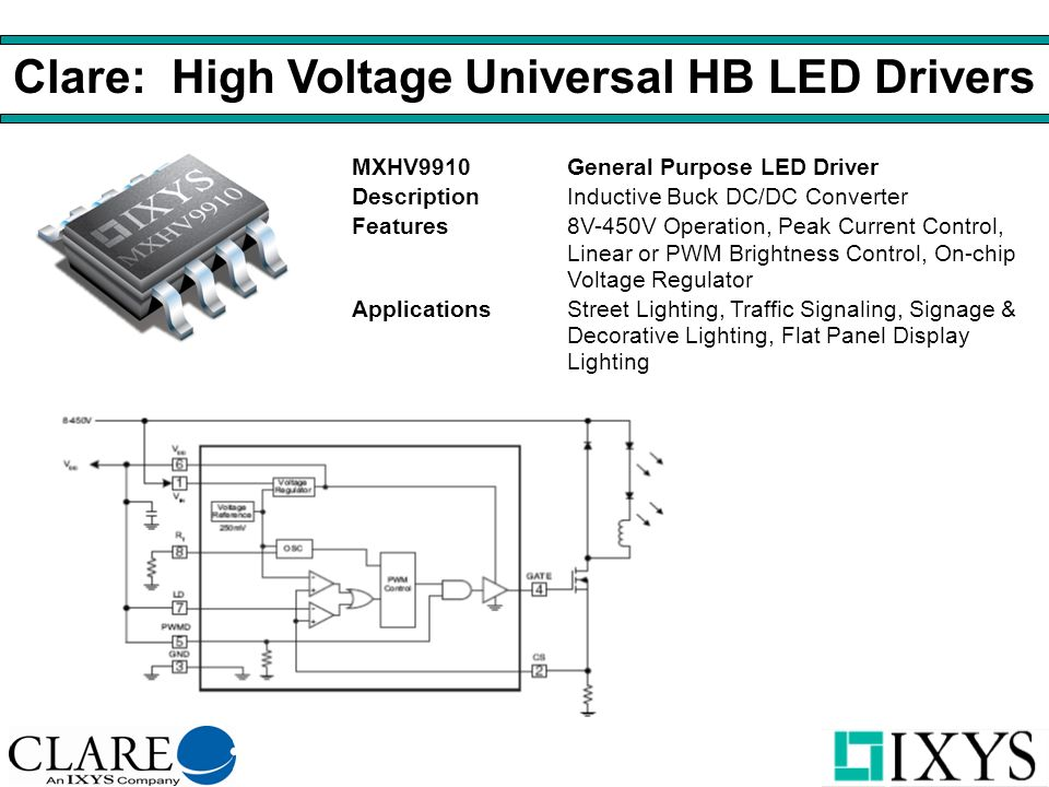 Clare: High Voltage Universal HB LED Drivers MXHV9910General Purpose LED Driver DescriptionInductive Buck DC/DC Converter Features8V-450V Operation, Peak Current Control, Linear or PWM Brightness Control, On-chip Voltage Regulator ApplicationsStreet Lighting, Traffic Signaling, Signage & Decorative Lighting, Flat Panel Display Lighting