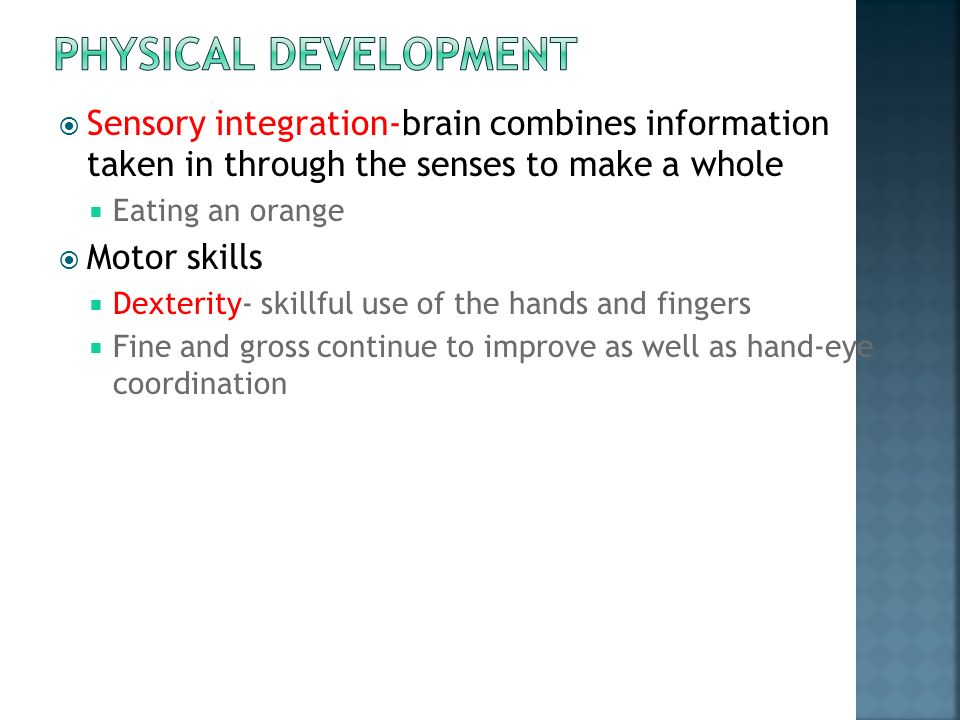  Sensory integration-brain combines information taken in through the senses to make a whole  Eating an orange  Motor skills  Dexterity- skillful use of the hands and fingers  Fine and gross continue to improve as well as hand-eye coordination
