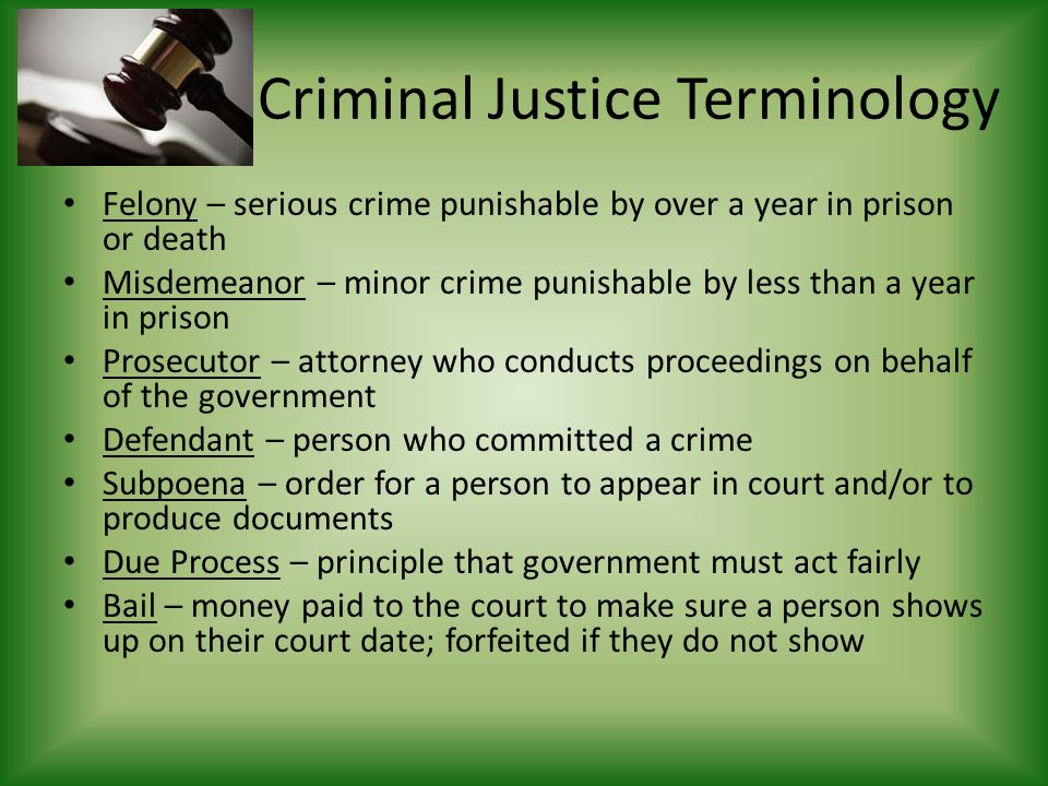 Criminal Justice Terminology Felony – serious crime punishable by over a year in prison or death Misdemeanor – minor crime punishable by less than a year in prison Prosecutor – attorney who conducts proceedings on behalf of the government Defendant – person who committed a crime Subpoena – order for a person to appear in court and/or to produce documents Due Process – principle that government must act fairly Bail – money paid to the court to make sure a person shows up on their court date; forfeited if they do not show