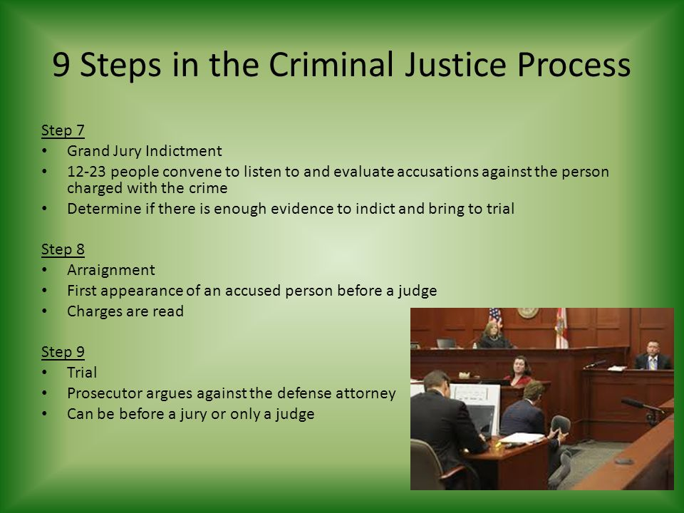 9 Steps in the Criminal Justice Process Step 7 Grand Jury Indictment people convene to listen to and evaluate accusations against the person charged with the crime Determine if there is enough evidence to indict and bring to trial Step 8 Arraignment First appearance of an accused person before a judge Charges are read Step 9 Trial Prosecutor argues against the defense attorney Can be before a jury or only a judge
