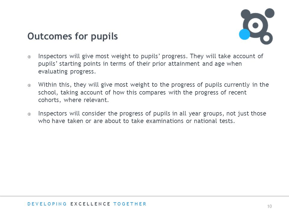 DEVELOPING EXCELLENCE TOGETHER 10 Outcomes for pupils  Inspectors will give most weight to pupils' progress.