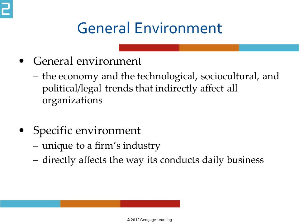 General Environment General environment –the economy and the technological, sociocultural, and political/legal trends that indirectly affect all organ