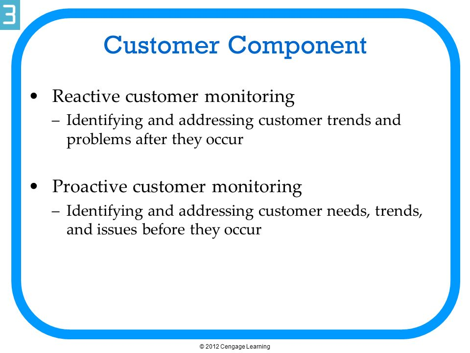 Customer Component Reactive customer monitoring –Identifying and addressing customer trends and problems after they occur Proactive customer monitorin