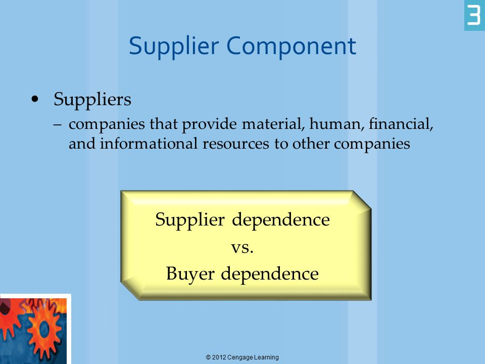 Supplier Component Suppliers –companies that provide material, human, financial, and informational resources to other companies Supplier dependence vs