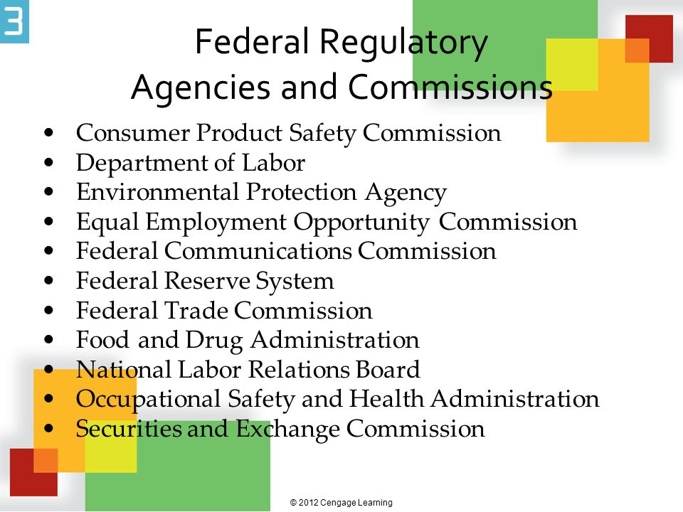 Federal Regulatory Agencies and Commissions Consumer Product Safety Commission Department of Labor Environmental Protection Agency Equal Employment Op