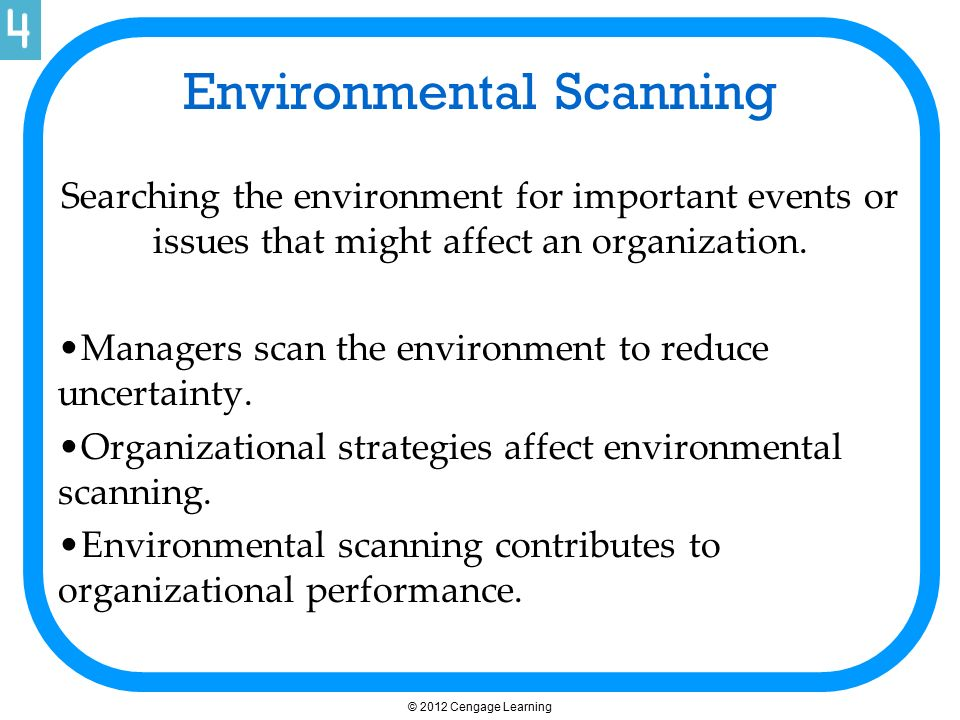 Environmental Scanning Searching the environment for important events or issues that might affect an organization. Managers scan the environment to re