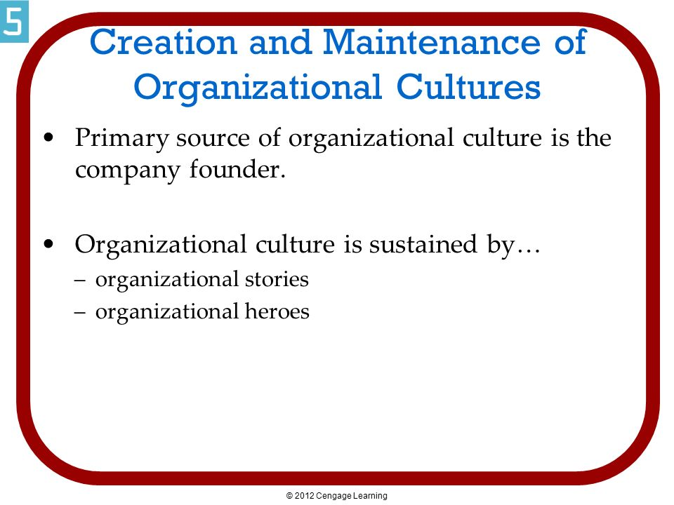Creation and Maintenance of Organizational Cultures Primary source of organizational culture is the company founder. Organizational culture is sustain