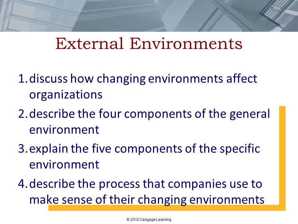 External Environments 1.discuss how changing environments affect organizations 2.describe the four components of the general environment 3.explain the