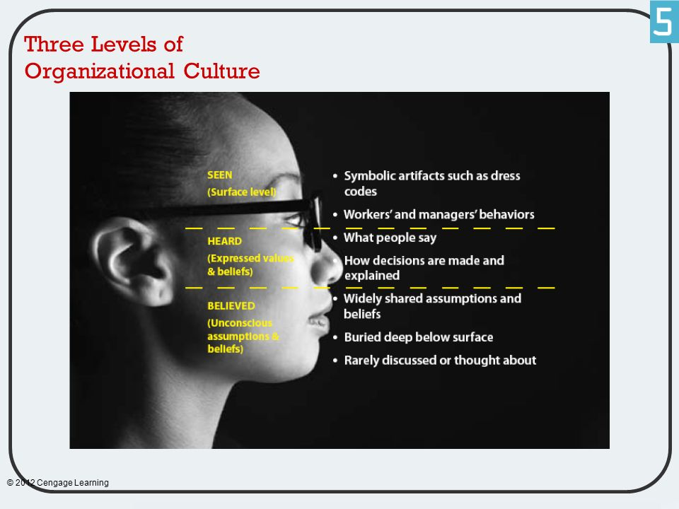 Three Levels of Organizational Culture © 2012 Cengage Learning