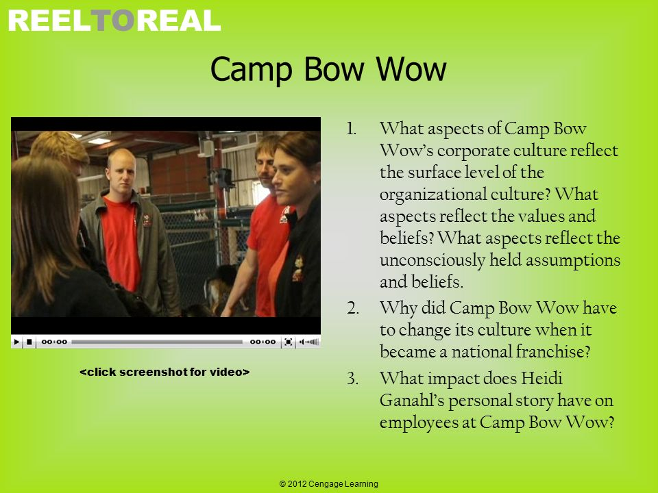 REELTOREAL Camp Bow Wow 1.What aspects of Camp Bow Wow's corporate culture reflect the surface level of the organizational culture? What aspects refle