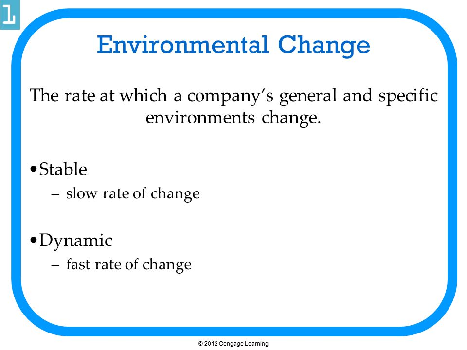 Environmental Change The rate at which a company's general and specific environments change. Stable –slow rate of change Dynamic –fast rate of change
