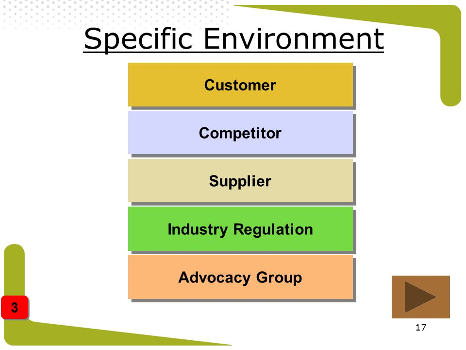 17 Specific Environment Customer Competitor Supplier Industry Regulation Advocacy Group 3 3
