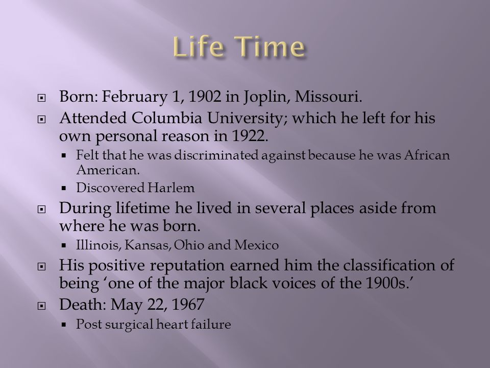  Born: February 1, 1902 in Joplin, Missouri.