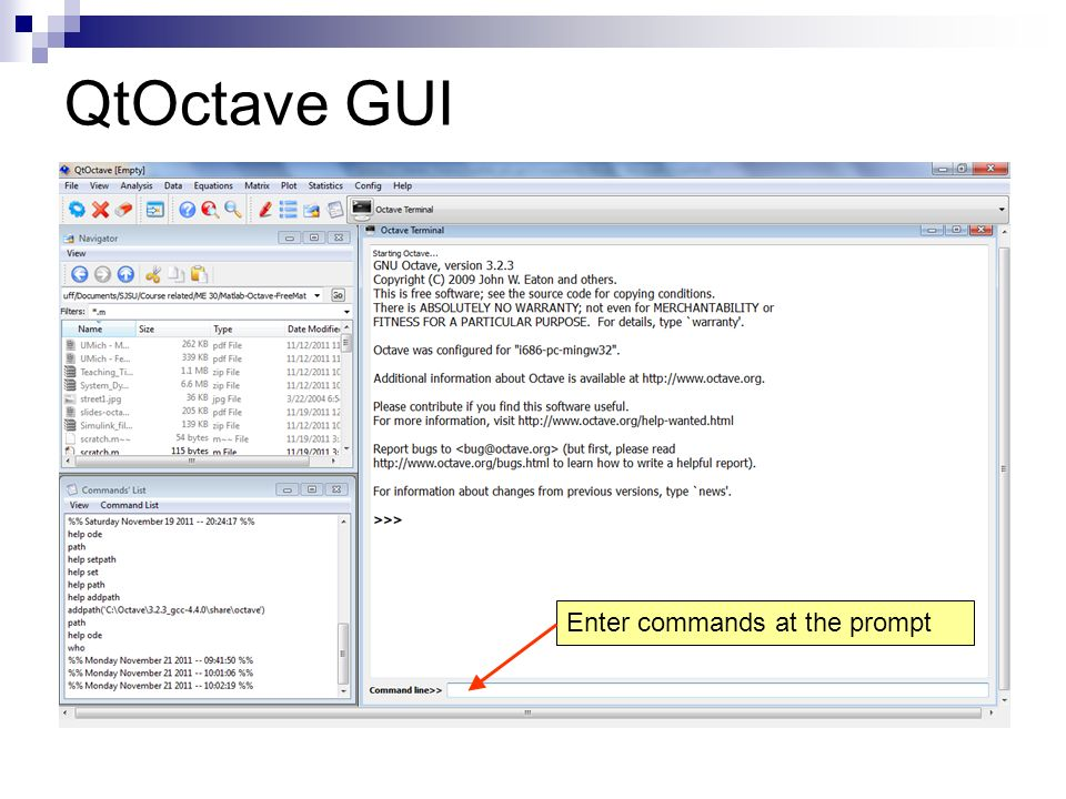 QtOctave GUI Enter commands at the prompt