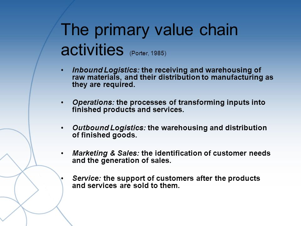 The primary value chain activities (Porter, 1985) Inbound Logistics: the receiving and warehousing of raw materials, and their distribution to manufacturing as they are required.