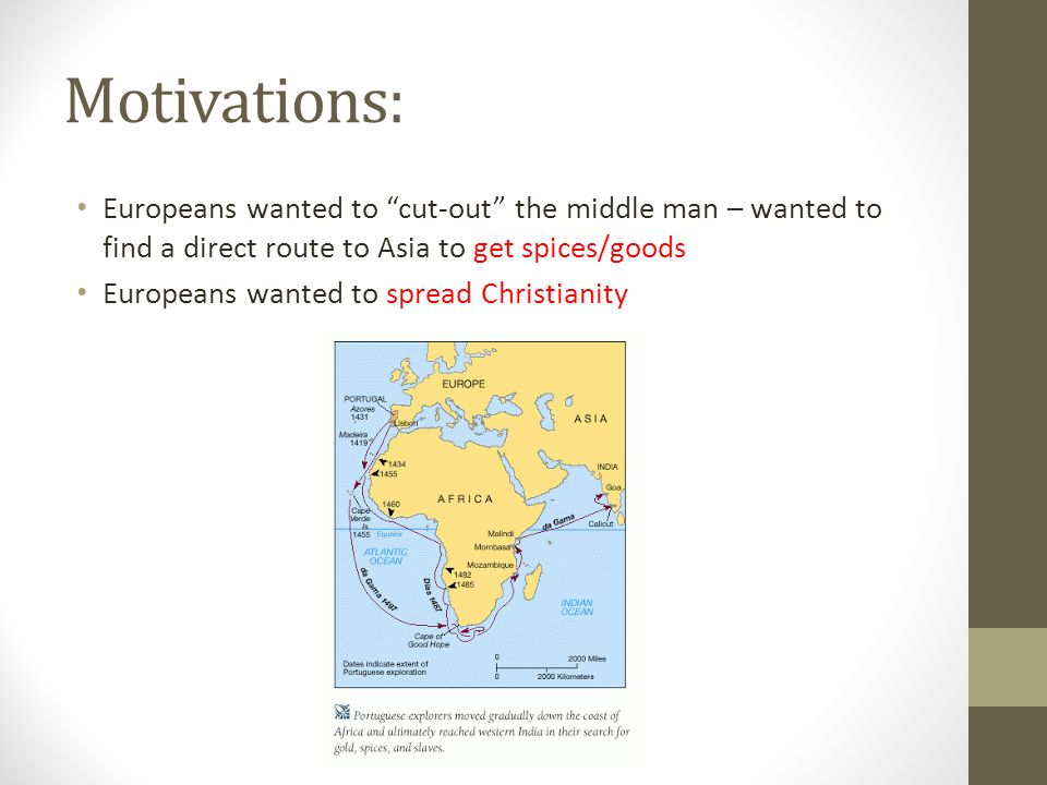 Motivations: Europeans wanted to cut-out the middle man – wanted to find a direct route to Asia to get spices/goods Europeans wanted to spread Christianity