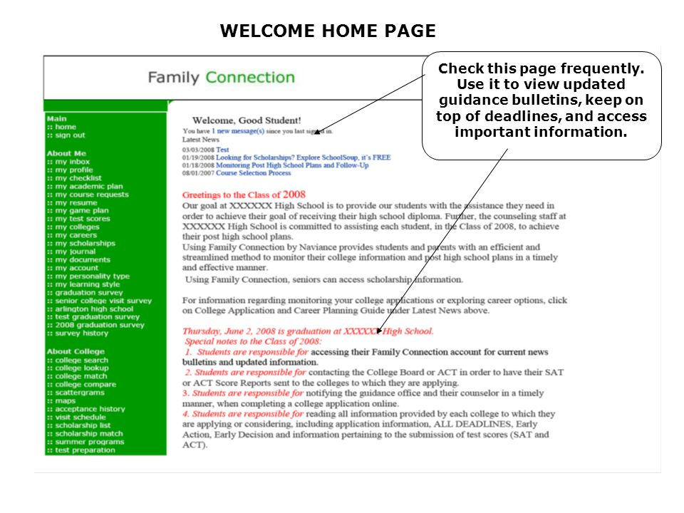 WELCOME HOME PAGE Check this page frequently.