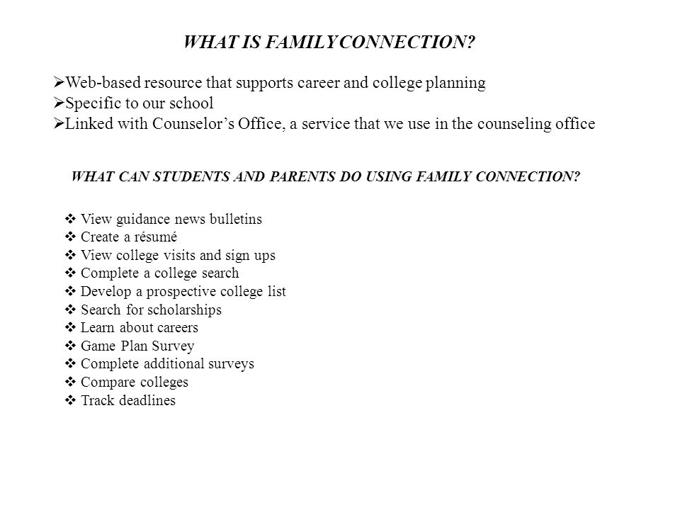 WHAT IS FAMILY CONNECTION.