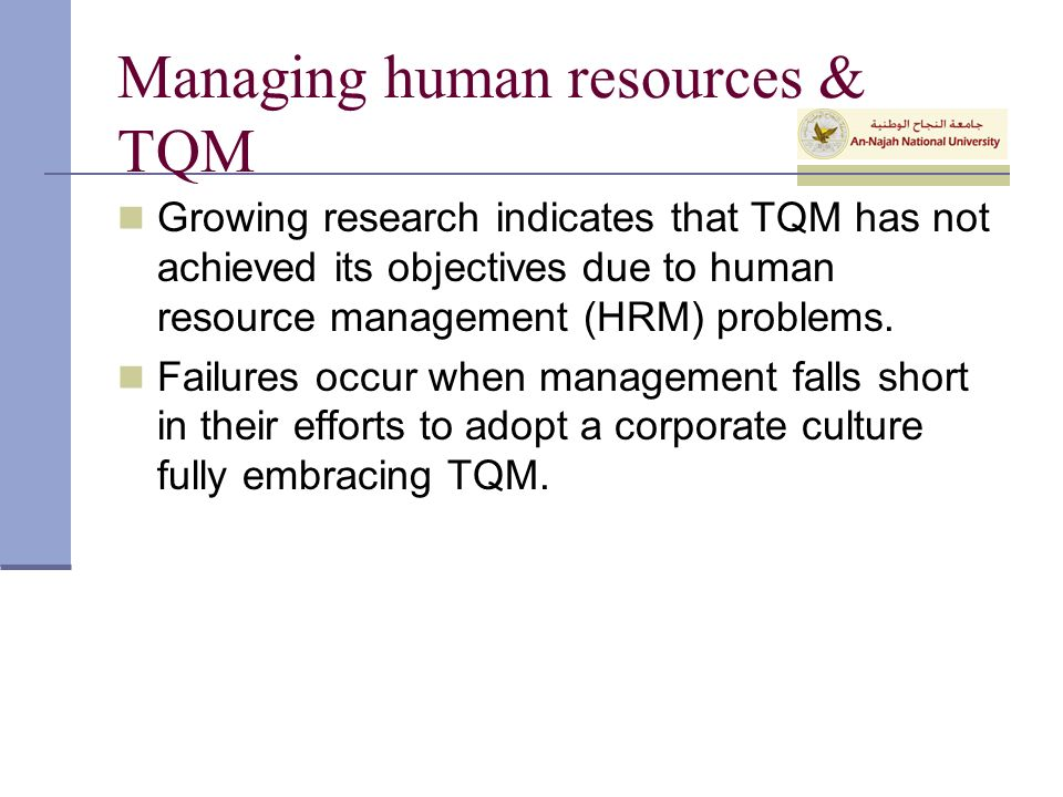tqm research articles Total quality management  quality programs miss the mark journal for quality and participation (september) spitzer, rd 1993 tqm: the only source of sustainable competitive advantage.