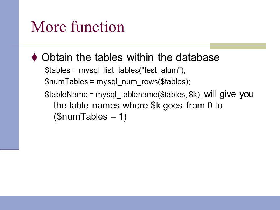 mysql list tables