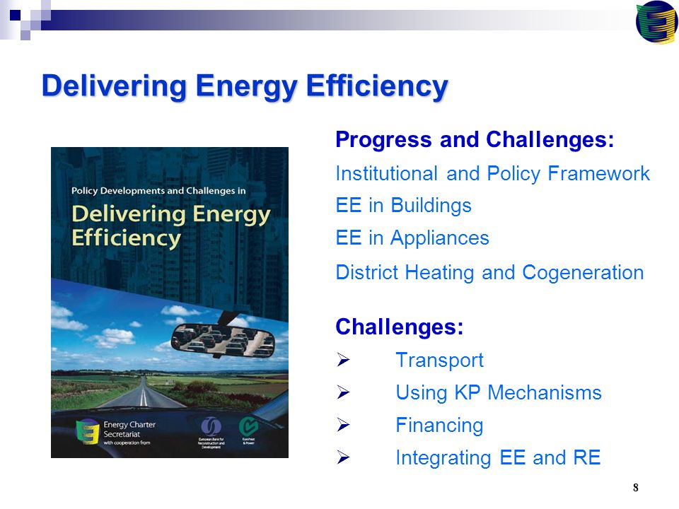 8 Delivering Energy Efficiency Progress and Challenges: Institutional and Policy Framework EE in Buildings EE in Appliances District Heating and Cogeneration Challenges:  Transport  Using KP Mechanisms  Financing  Integrating EE and RE