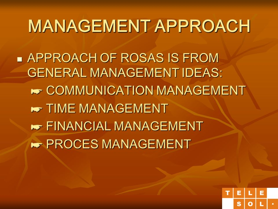 MANAGEMENT APPROACH APPROACH OF ROSAS IS FROM GENERAL MANAGEMENT IDEAS: APPROACH OF ROSAS IS FROM GENERAL MANAGEMENT IDEAS: ☛ COMMUNICATION MANAGEMENT ☛ COMMUNICATION MANAGEMENT ☛ TIME MANAGEMENT ☛ TIME MANAGEMENT ☛ FINANCIAL MANAGEMENT ☛ FINANCIAL MANAGEMENT ☛ PROCES MANAGEMENT ☛ PROCES MANAGEMENT