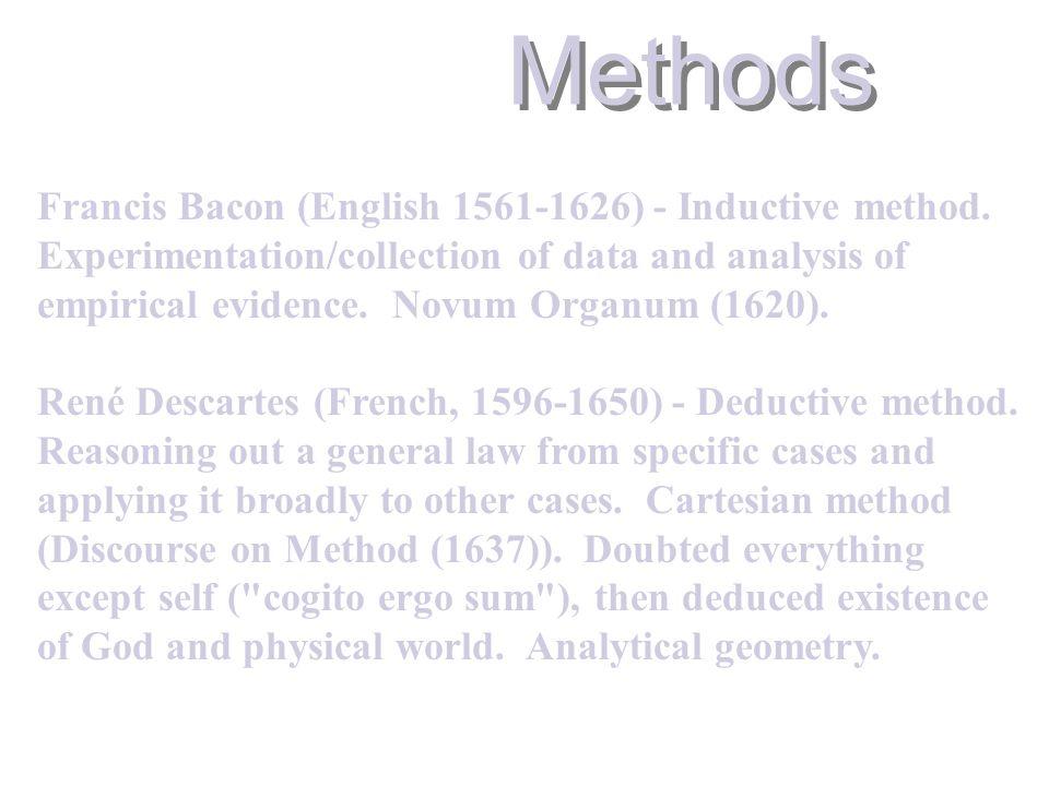 Methods Francis Bacon (English 1561-1626) - Inductive method.