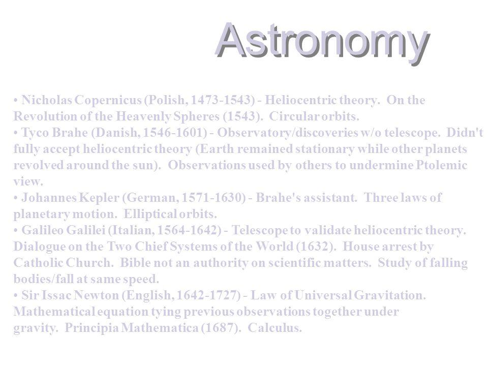 Astronomy Nicholas Copernicus (Polish, 1473-1543) - Heliocentric theory.